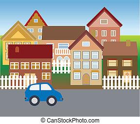hogares, suburbano, vecindad, tranquilidad
