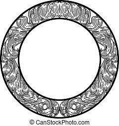 hoja, filigrana, floral, laurel, patrón, marco, motivo