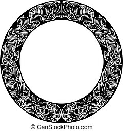 hoja, floral, cresta, laurel, patrón, motivo, marco
