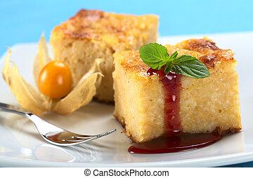 hoja, fresa, salsa, foco, cocido al horno, frente, foco, borde, pudín, postre, (selective, mint), arroz, menta, pastel, izquierda