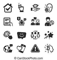 hoja, gesto, touchscreen, gente, iconos, symbols., conjunto, vector, tal, corazón