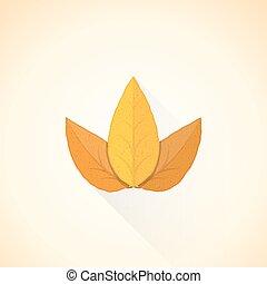hoja, ilustración, icono, threesome, vector, plano, tabaco