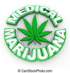 hoja, médico, -, marijuana, palabras, icono