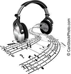 hoja, notas, concepto, música, auriculares