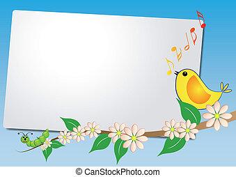 hoja, pájaro, canción