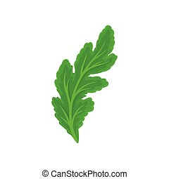 Hoja verde oscura inclinada. Vista desde arriba. Ilustración de vectores sobre fondo blanco.
