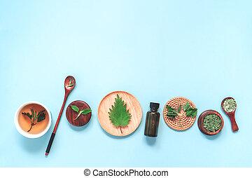 hojas, cuchara, ortiga, sal