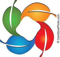 Hojas de color logo vector