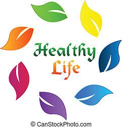 Hojas de color saludable logo de vida