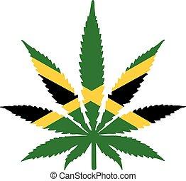 Hojas de marihuana con bandera jamaica