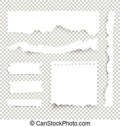 Hojas de papel en blanco. Las notas de Vector se juntan con cinta adhesiva.