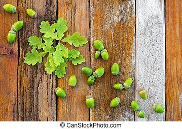 Hojas de roble verde y bellotas sobre fondo rústico de madera