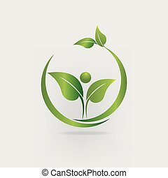 Hojas de salud, naturaleza marcando el logo