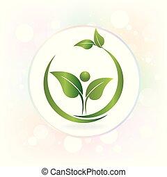 Hojas de salud naturaleza watecolor logo