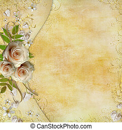 hojas, dorado, tarjeta de papel, rosas, hermoso, saludo, corazones, cinta