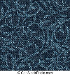 hojas, fondo., azul, seamless, ramitas, patrón, floral, intertwined, ornament., vaqueros, tela vaquera