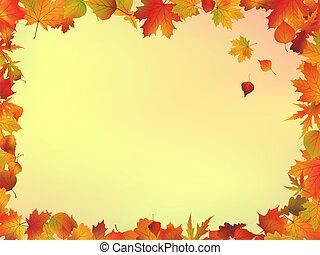 hojas, marco, otoño