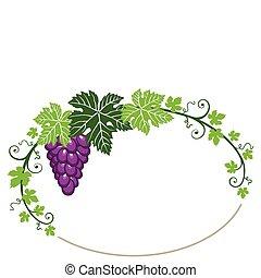 hojas, marco, uvas blancas