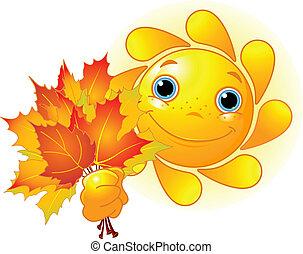 hojas, otoño, sol