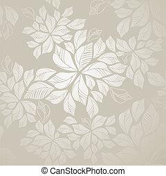 hojas, papel pintado, seamless, plata
