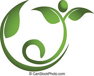 Hojas sanas en el logotipo