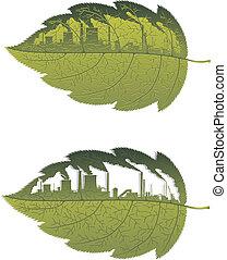 Hojas verdes con fábricas