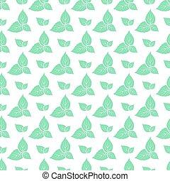 Hojas verdes de menta fresca sin costura.