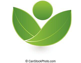 Hojas verdes, logo de la naturaleza