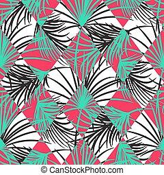 Hojas verdes y rojas de palma y rombos de arlequín sin patrón de vectores.