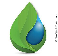 Hojas y logotipo de gota de agua