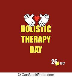 holístico, feliz, día, terapia
