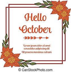 Hola, estandarte de texto de octubre, con marco floral antiguo. Vector
