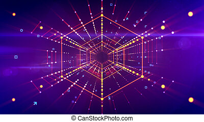 hola-hi-tech, hexagonal, vuelo, portal, neón
