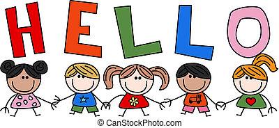 Hola, niños étnicos mixtos