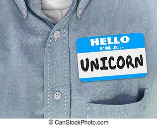 Hola, soy un unicornio con nombre de etiqueta azul