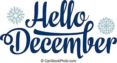 Hola tarjeta de diciembre. Decoración de vacaciones. Lettering