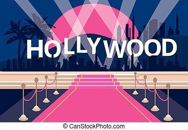 hollywood, alfombra, fondo rojo