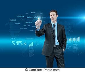 holographic, series., empresa / negocio, collection., joven, realidad virtual, futuro, soluciones, escoger, interface., hombre de negocios, uno