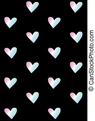 holographic, vector, patrón, corazones, seamless