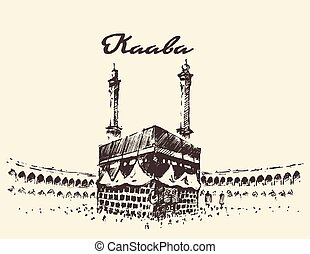 Holy kaaba mecca saudi arabia muslim dibujado