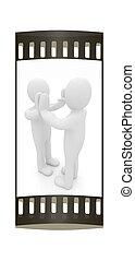 Hombre 3D aislado en negro. Series: emociones humanas - cinco entre dos personas que celebran un éxito. La cinta de cine