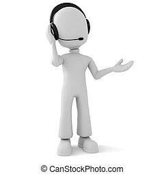 Hombre 3d - centro de llamadas