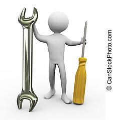 Hombre 3D con herramientas de reparación