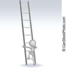 Hombre 3D con una escalera