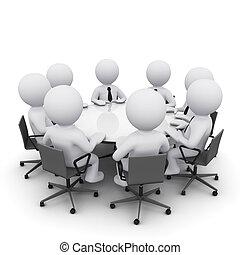 Hombre 3D en la reunión de negocios