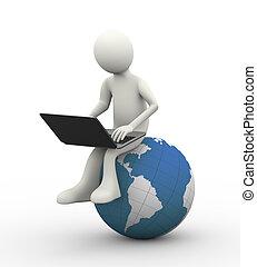 Hombre 3D sentado en el globo con portátil