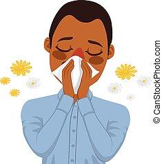 Hombre afroamericano que sufre alergia