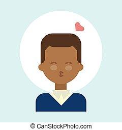 Hombre americano afroamericano, sexo oral, besos de ícono emocional, retrato de dibujos animados feliz cara sonriente