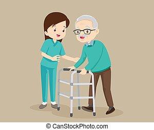hombre, anciano, enfermera, cuidado