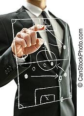 Hombre apuntando al campo de fútbol en una pantalla virtual